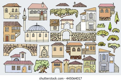 Line drawing.Cityscape elements vector set.Hand drawn isolated sketchy houses and trees.Doodle set of different in color and shape old buildings.Oriental architecture style