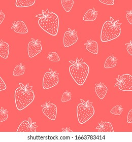 Line drawn doodle strawberries on bright pink background. Seamless summer cute pattern. Good for packaging.