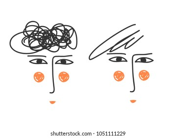 line drawn faces. Continuous line drawing. Abstract portrait of a man with a stylish hairstyle. Hand drawn. vector illustration. Cartoon. Hipster.