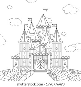Line drawn fantasy castle with simple stone pattern. Towers with flags and small windows, sky, field, clouds. Illustration on white isolated background. For coloring book pages.