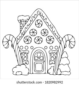line drawn gingerbread houses, cookies, Christmas sweets and treats, gingerbread house shaped gingerbread cookies with decorations, fairy tale houses coloring book. Vector illustration
