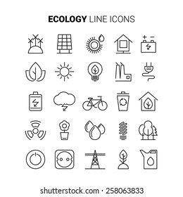 line ecology icons vector set power eco alternative energy renewable