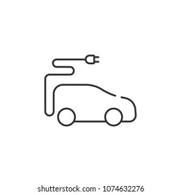Line electric car icon. Simple element illustration. Line electric car symbol design from Ecology collection set. Can be used in web and mobile on white background