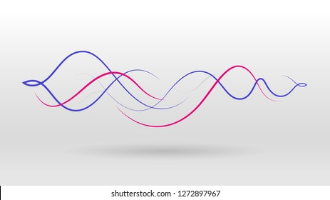 line elements motion sound wave abstract vector background