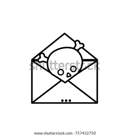 7a52f348cf Line Email Letter Message Danger Skull Stock Vector (Royalty Free ...