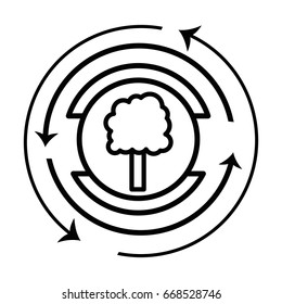 line emblem of tree symbol to ecology care