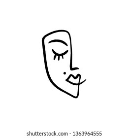 Line face drawing. Portrait in minimalistic style. Vector, clip art