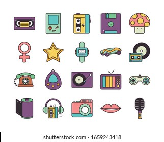line fill style icon set design, retro leisure technology entertainment obsession digital and lifestyle theme Vector illustration