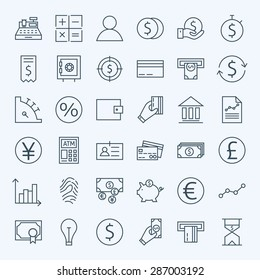 Line Finance Money and Banking Icons Set. Vector Set of 36 Line Art Modern Icons for Web and Mobile. Bank and Banking. Debit and Credit. Money and Finance. Business Investments and Earnings Objects.