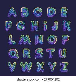 Line fingerprint english alphabet letters set. Font style, vector design template elements.