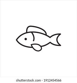 Line Fish Logo Design Modern Vector Template.