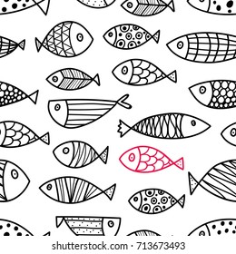 Line fish. Seamless pattern with cute ornamental fish. Sea background.