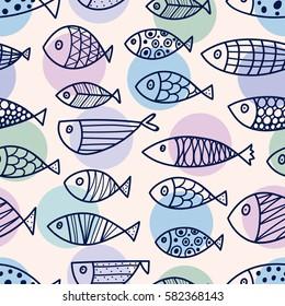Line fish. Vector seamless pattern.