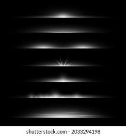 Line flare. Light dividers glowing borders, white horizontal beams. Futuristic transparent rays. Magic shimmer backdrop, stardust frame, silver decor vector realistic isolated set