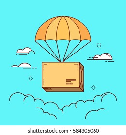 Line flat design colorful vector illustration of package flying down from sky with parachute, concept for delivery service