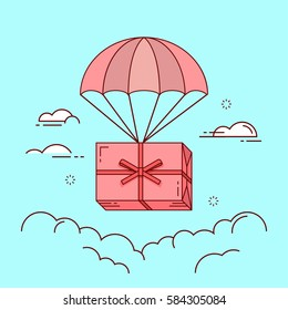 Line flat design colorful vector illustration of gift box flying down from sky with parachute, concept for delivery service