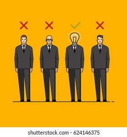 Line flat design colorful vector illustration concept for headhunting, searching talented employees, human resource management, recruitment, selecting professional staff isolated on bright background