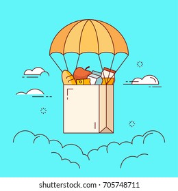 Line flat design colorful vector illustration of grocery bag flying down from sky with parachute , concept for grocery delivery, online ordering of food