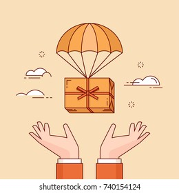 Line flat design colorful vector illustration of gift box flying down from sky with parachute into hands, concept for delivery service