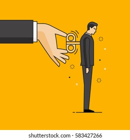Line flat design vector illustration of hand moving key of windup man, concept for coaching, human resources management isolated on bright background