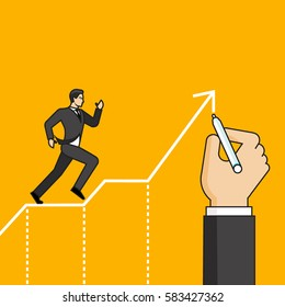 Line flat design vector illustration of hand drawing path for running businessman, concept for mentorship, coaching, human resource management isolated on bright background