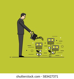 Line flat design vector illustration of businessman watering money plants, concept for making money, investment, getting profit, financial management, business growth isolated on bright background