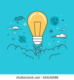 Line flat design vector illustration of light bulb in space, concept for creativity, imagination, innovation isolated on bright background