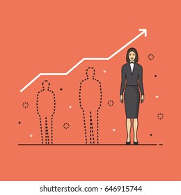Line flat design vector illustration concept for personal development of woman, professional growth of female employee, human resources management, career achievements isolated on bright background