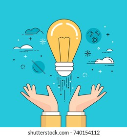Line flat design vector illustration of hands launching light bulb into space, concept for startup, creativity, imagination, innovation isolated on bright background
