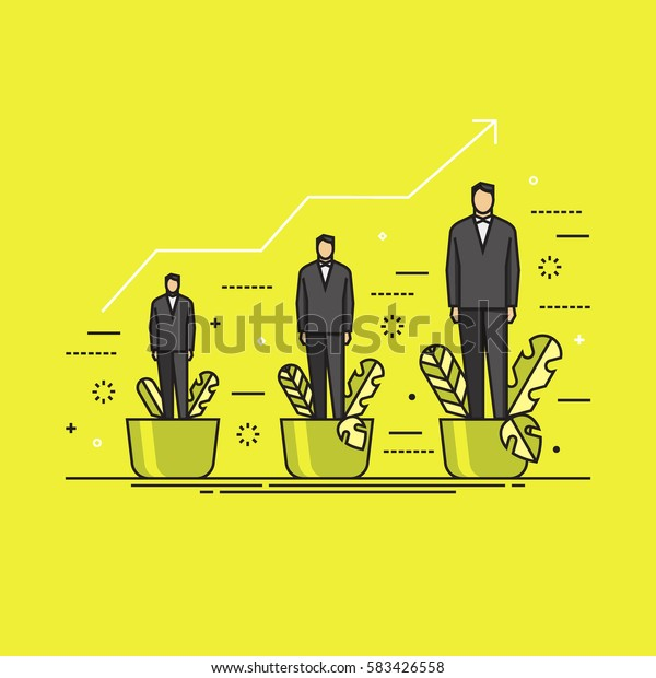 Line flat design vector illustration concept for personal development, professional growth, human resources management, career achievements isolated on bright background