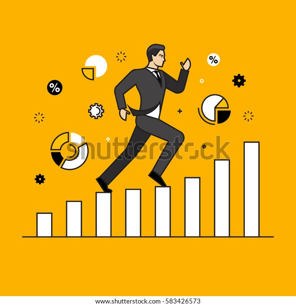 Line flat design vector illustration of businessman running up along graphs, concept for business success, career, reaching goals isolated on bright background