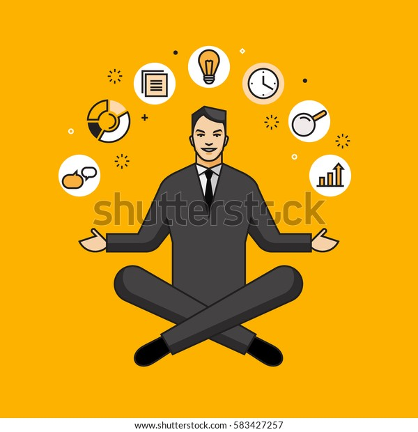 Line flat design vector illustration of businessman sitting in lotus pose surrounded by icons, concept for business success, career, time management isolated on bright background
