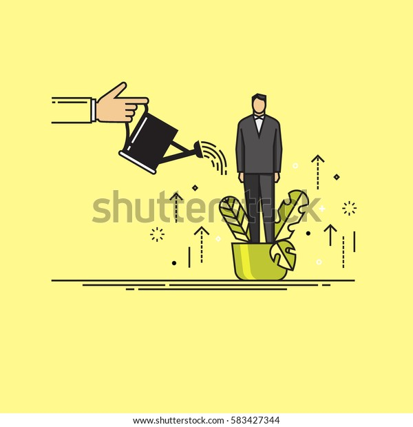 Line flat design vector illustration of hand watering man in flowerpot, concept for coaching, personal development, professional growth, human resources management isolated on bright background
