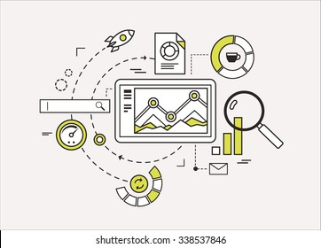 Line flat design of web analytics