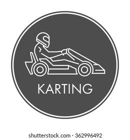 Line and flat karting logo and symbol. Silhouette figures kart racer. Linear sport symbol, label and badge.