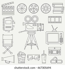 Line flat monochrome vector icon elements of filmmaking and multimedia set with 35mm film camera, tv. Cartoon style. Cinema. Vector illustration and element for your design. Collection. Movie icons.