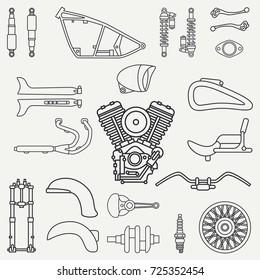 Line flat plain vector motorcycle icon classic bike repair set. Retro. Cartoon style. Biker motoclub. Gasoline engine. Equipment. Freedom rider. Illustration, element for your design and wallpaper.
