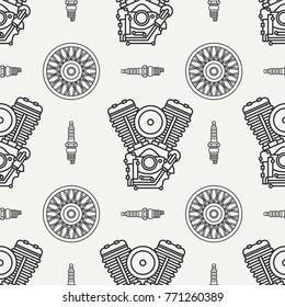Line flat seamless pattern vector motorcycle classic bike power motor, wheel. Legendary retro. Cartoon. Biker motoclub rider. Gasoline engine. Spark plug. Illustration, element for design. wallpaper.