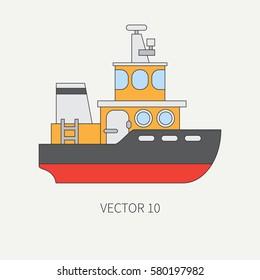 Line flat vector color icon comercial tugboat. Merchant fleet. Cartoon vintage style.