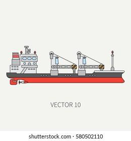 Line flat vector color icon container cargo ship. Merchant fleet. Cartoon vintage style. Ocean. Sea. Port. Barge. Comercial. Transportation. Captain. Sail. Simple Illustration and element for design