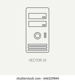 Line flat vector computer part icon housing body. Cartoon style. Digital gaming and business office pc desktop device. Innovation gadget. Hardware. Illustration and element for your design, wallpaper.