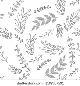 Line floral vector non-stop pattern