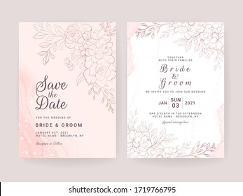 Line floral wedding invitation card template set with pastel watercolor. Abstract background save the date, invitation, greeting card, multi-purpose vector
