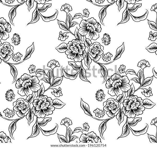 line flower beautiful pattern vector.