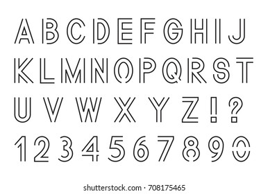 Line font, Latin alphabet letters with set of numbers 1, 2, 3, 4, 5, 6, 7, 8, 9, 0, outlined, black isolated on white background, vector illustration.