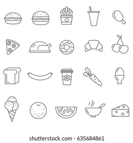 Line food icons set