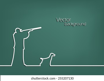 line in the form of a hunter with a dog. Flat design . vector background