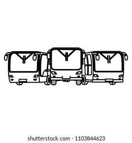 line front busses transport cities travel