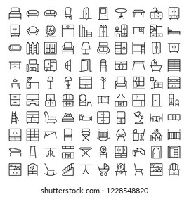 Line furniture icons set