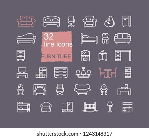 Line furniture icons set. Outline web icon collection